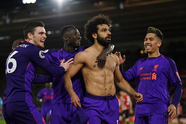 Andrew Robertson, Sadio Mane, Mohamed Salah and Roberto Firmino (right to left)