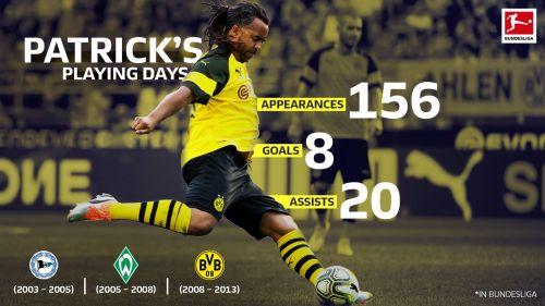 Borussia Dortmund legend Patrick Owomoyela in numbers. (Image courtesy: Bundesliga)