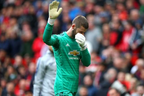 de Gea acknowledges the fans at half-time moments after his blunder gifted Chelsea their equaliser