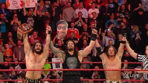 Seth Rollins, Roman Reigns and AJ Styles