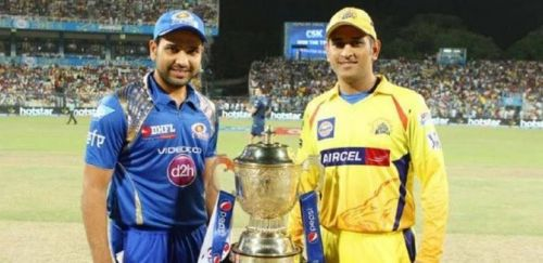 'Csk' Skipper Dhoni & 'MI' Skipper Rohit Sharma.