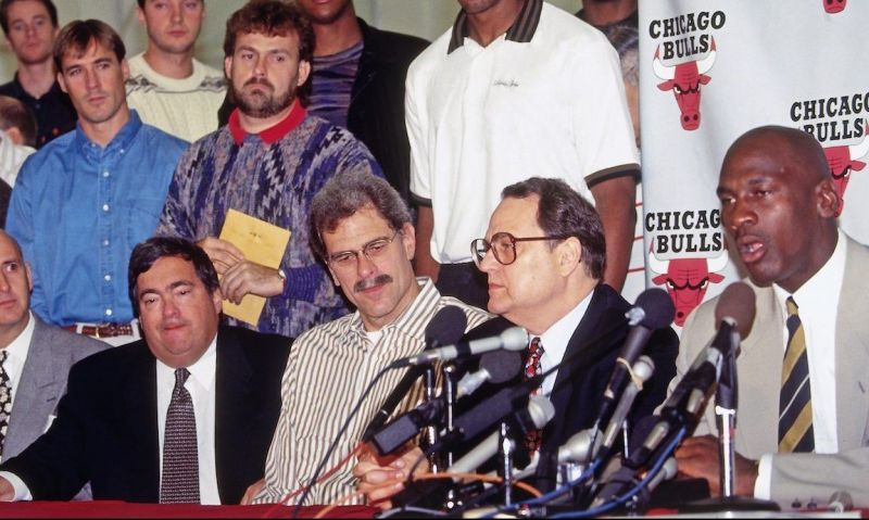 DEERFIELD, IL - OCTOBER 6: Michael Jordan #23 of the Chicago Bulls speaks to the media during his Retirement Press Conference on October 6, 1993 at the Chicago Bulls Practice Facility in in Deerfield, Illinois