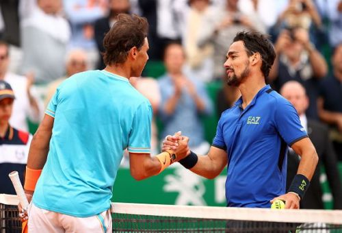 Nadal congratulates Fognini after their semi-final clash at Monaco last week