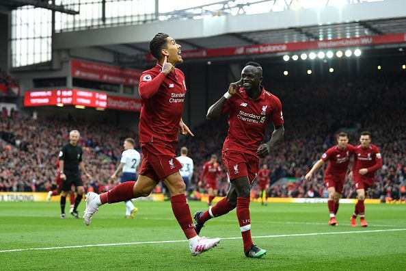 Firmino celebrates his goal against Spurs