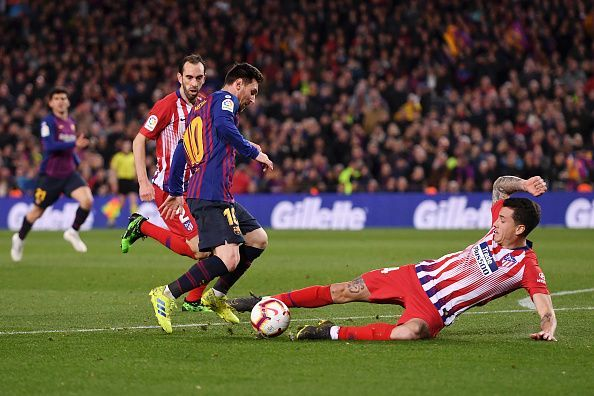 Despite Gimenez's best efforts, Messi was able to apply the finishing touch