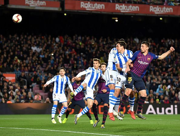 Lenglet watches on as his well-timed header beats Rulli to break the deadlock