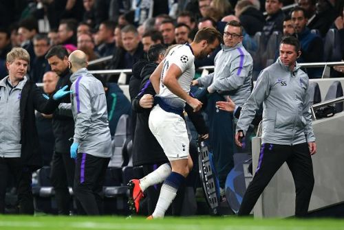 Kane hobbled off the field after a clash with Fabian Delph