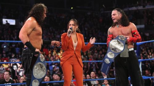 The Hardy Boyz defeated The Usos for the SmackDown Live Tag Team Titles during the episode