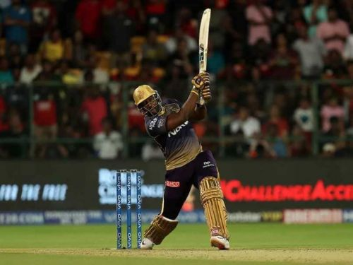Andre Russell hitting one of his glorious sixes © BCCI/IPL