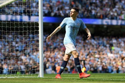 Manchester City's Phil Foden celebrates his goal against Tottenham Hotspur