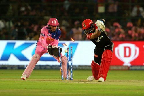 Virat Kohli was bowled by Shreyas Gopal (Image courtesy: IPLT20/BCCI)