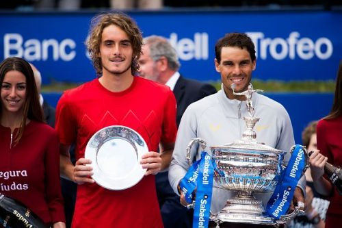 Nadal and Tsitsipas during the presentation ceremony after their final at Barcelona Open 2018
