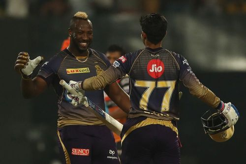 Shubman Gill and Andre Russell after chasing down SRH's total of 181. (Image Courtesy: IPLT20)
