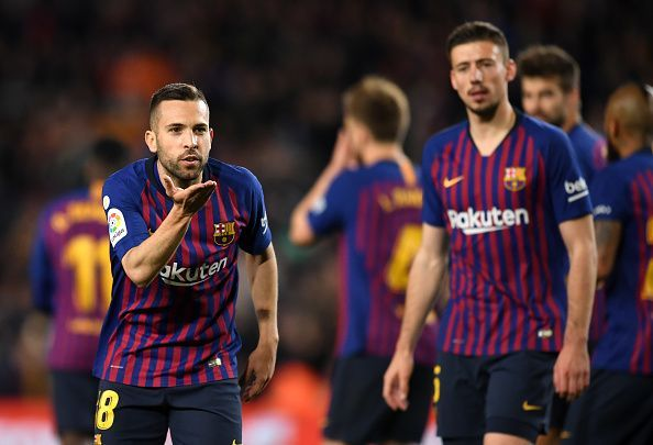 Jordi Alba celebrates after netting his second goal of the season, restoring Barca's slender advantage
