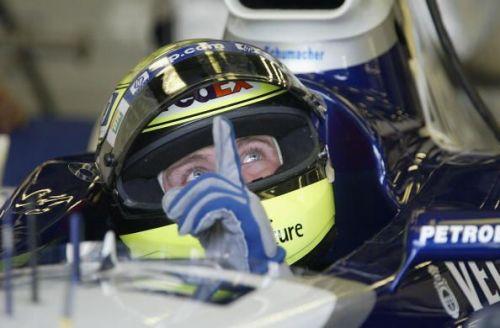 R Schumacher prepares to leave garage in a Grand Prix, 2002