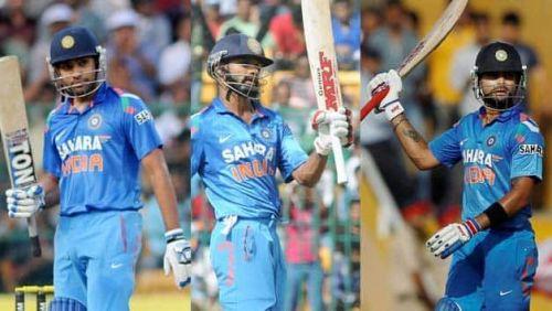Rohit Sharma, Shikhar Dhawan and Virat Kohli