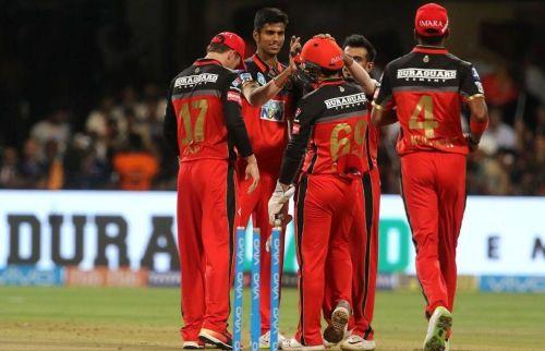 Washington Sundar celebrating one of his wickets last season