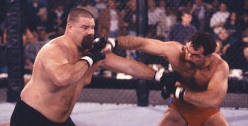 Tank fights Don Frye in the final of the Ultimate Ultimate 1996
