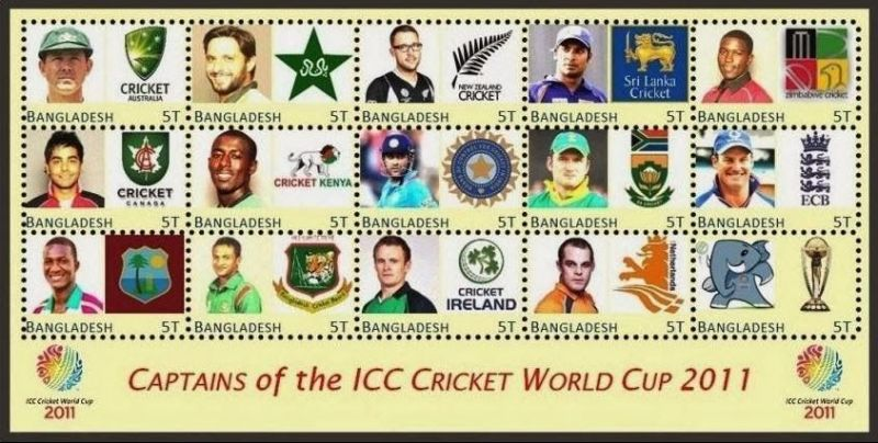 STAMPS OF BANGLADESH ON CAPTAINS OF TEAMS =2011 CRICKET WORLD CUP
