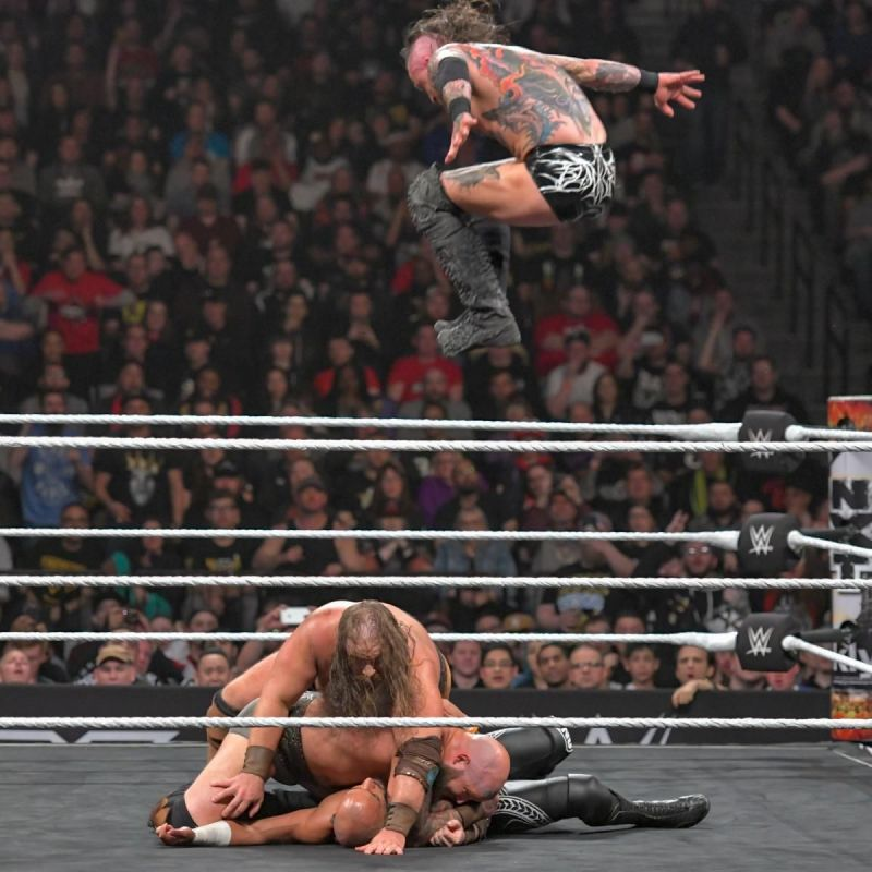 One of the many painful moments of the amazing tag team match.