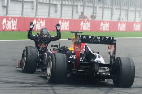 Vettel celebrating a 4th world championship at Indian GP in 2013