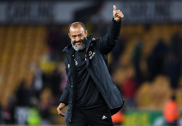 Nuno Espirito Santo appreciating the support at Molineux after defeating Arsenal FC