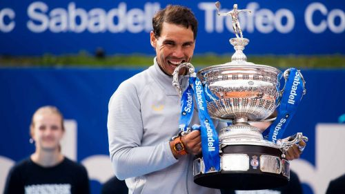 Rafael Nadal with his 11th Barcelona open title in 2018