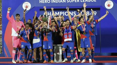 Bengaluru FC players celebrate after winning the ISL final against FC Goa