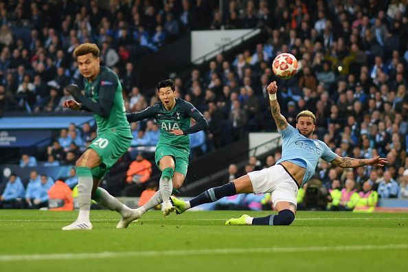 Son, just like Sterling, netted a first-half brace - including this fantastic strike to gift Spurs the lead again