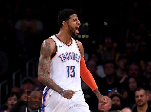 Paul George celebrating during the Thunder's game against the Los Angeles Lakers earlier this season