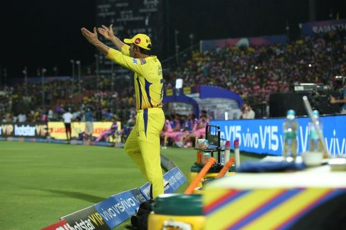 In a rare sight, MS Dhoni lost his cool towards the end of the match (picture courtesy: BCCI/iplt20.com)