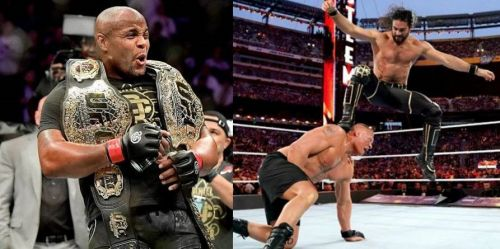Daniel Cormier (left) and former WWE Universal Champion Brock Lesnar (center) are set to fight in the UFC later this year