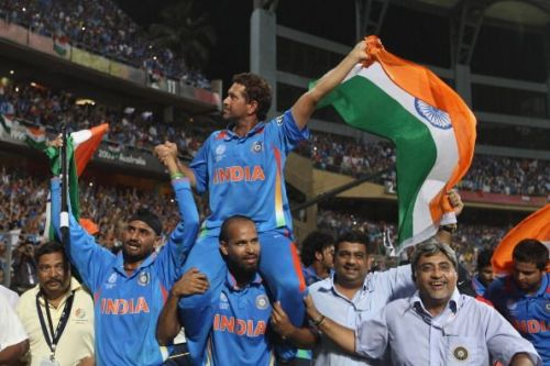 Sachin Tendulkar got a lap of honor from his teammates at the Wankhede Stadium.