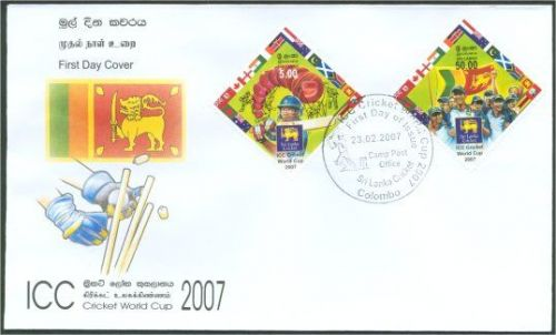 Sri Lanka stamps on 2007 Cricket World Cup.