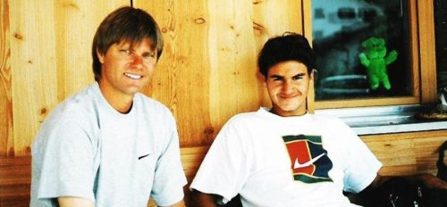 Peter Carter (left) with a young Roger Federer