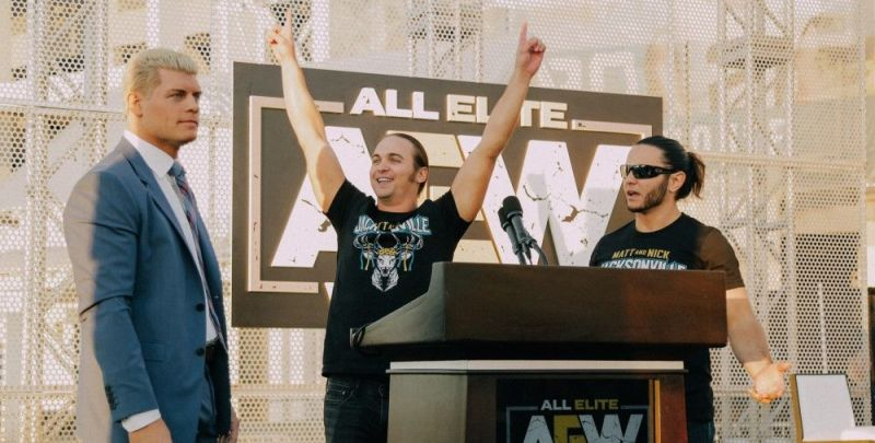 Could AEW stalwarts Cody Rhodes (left) and The Young Bucks (center and right) hire this former TNA World Champion?