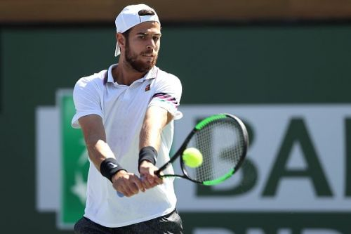 Karen Khachanov during his clash against Nadal at Indian Wells QF's 2019