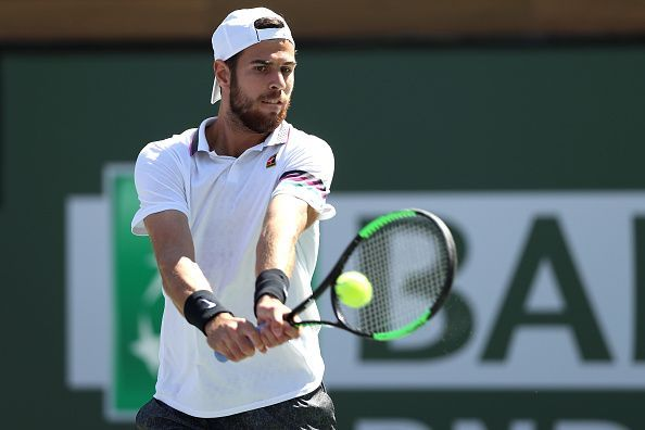 Karen Khachanov during his clash against Nadal at Indian Wells QF