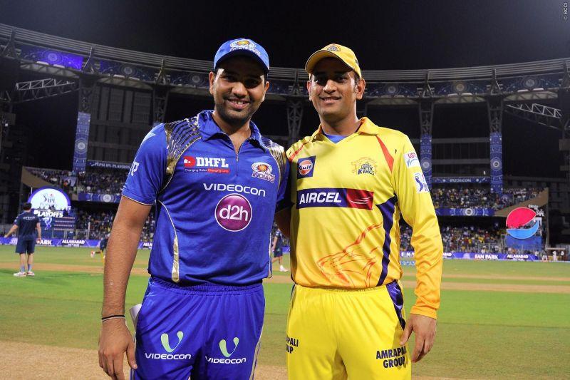 MI captain Rohit and CSK captain Dhoni