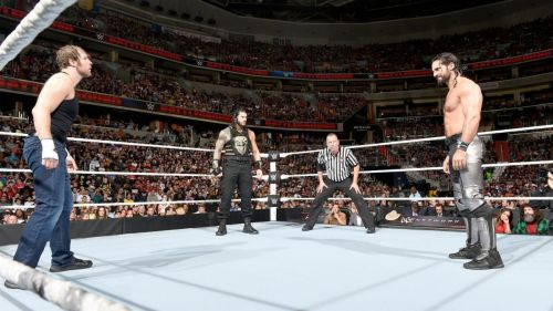 Tensions are high as the three former members of The Shield square off.