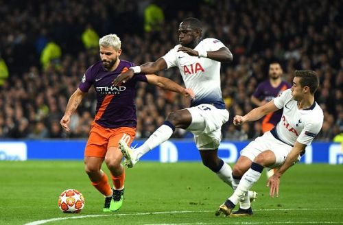 Sergio Aguero of Manchester City along with Moussa Sissoko and Harry Winks of Spurs