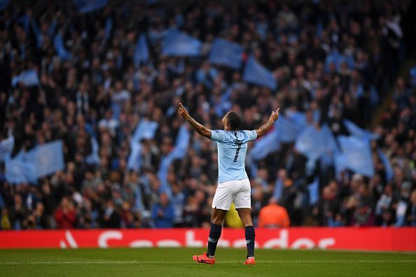 Sterling celebrating his first goal against Tottenham