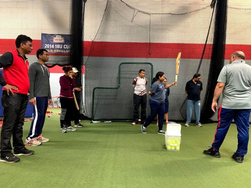 Kiruthika Subramanian tries batting skill