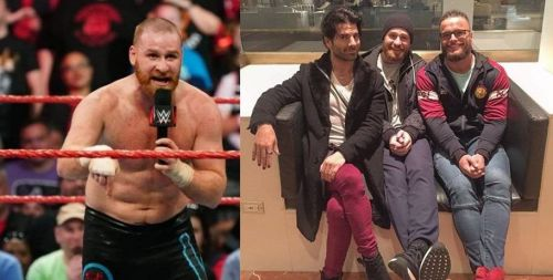 Sami Zayn (far left and second from right) is friends with several former WWE employees as well as indie professional wrestling performers