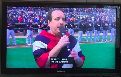 Sean Tillman (a.k.a Har Mar Superstar) blessed the crowd with the national anthem ahead of the Twins' home opener/ Photo Credit: Rodney Skyhook