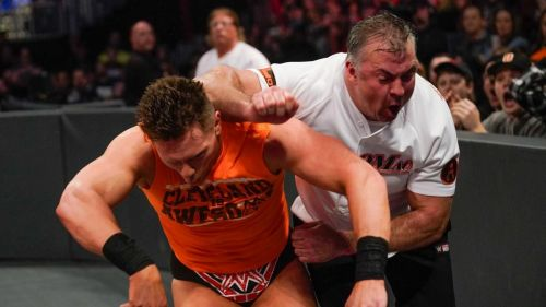Shane McMahon attacking The Miz at Fastlane.