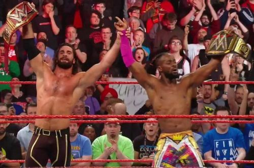 Universal Champion Seth Rollins and WWE Champion Kofi Kingston
