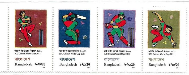 STAMPS OF BANGLADESH FEATURING BOWLER, BANGLADESH, WICKET-KEEPER, AND FIELDER