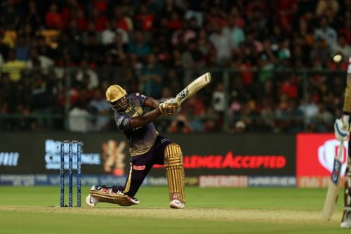 Andre Russell of Kolkata Knight Riders hits a six (Picture courtesy BCCI/iplt20.com)
