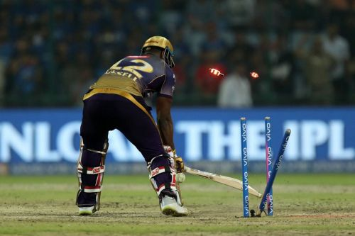 Russell had no reply to this outstanding yorker from Kagiso Rabada. (Image Courtesy: IPLT20)